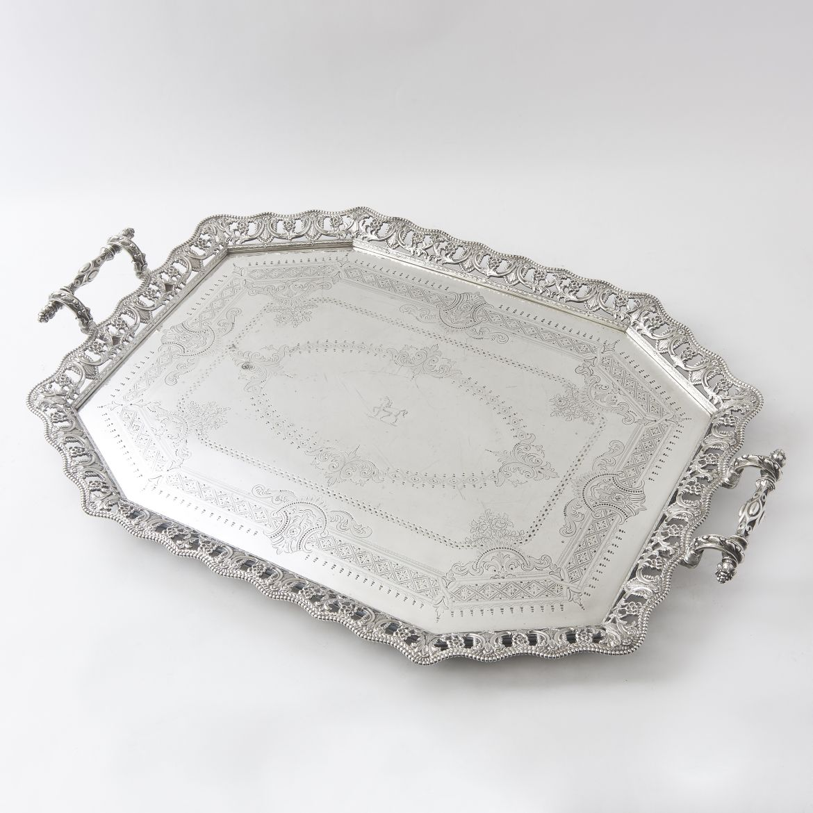 Victorian Octagonal Silver Plate Tray With Pierced Gallery