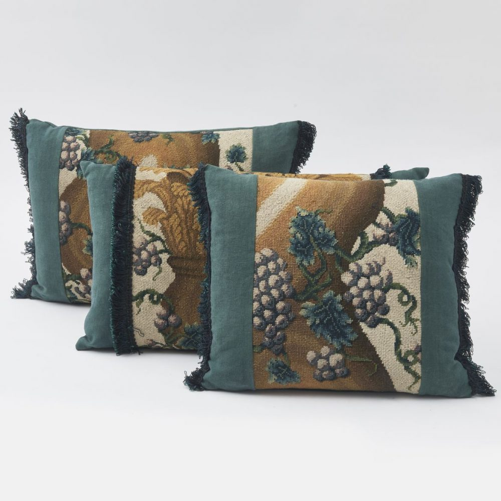 Tapestry Fragments Made Into Three Cushions