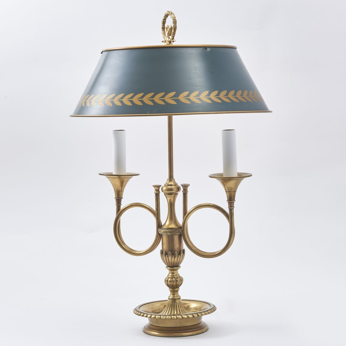 French Brass Hunting Horn Bouillote Lamp