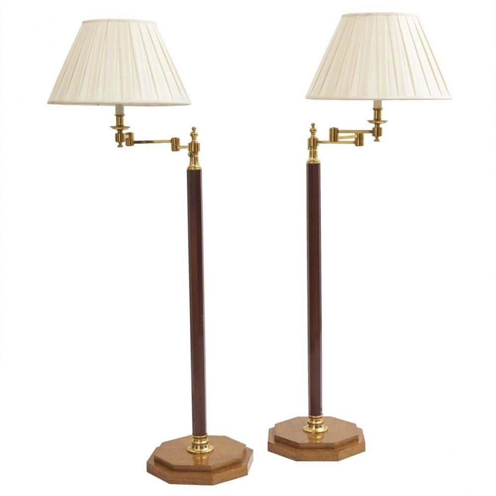 Pair Wooden Standard Lamps With Brass Details