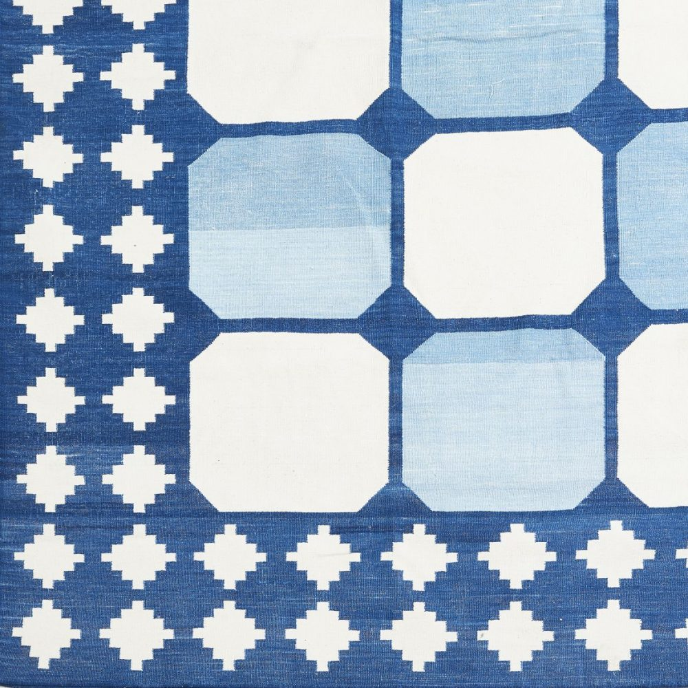 blue and white tile dhurrie