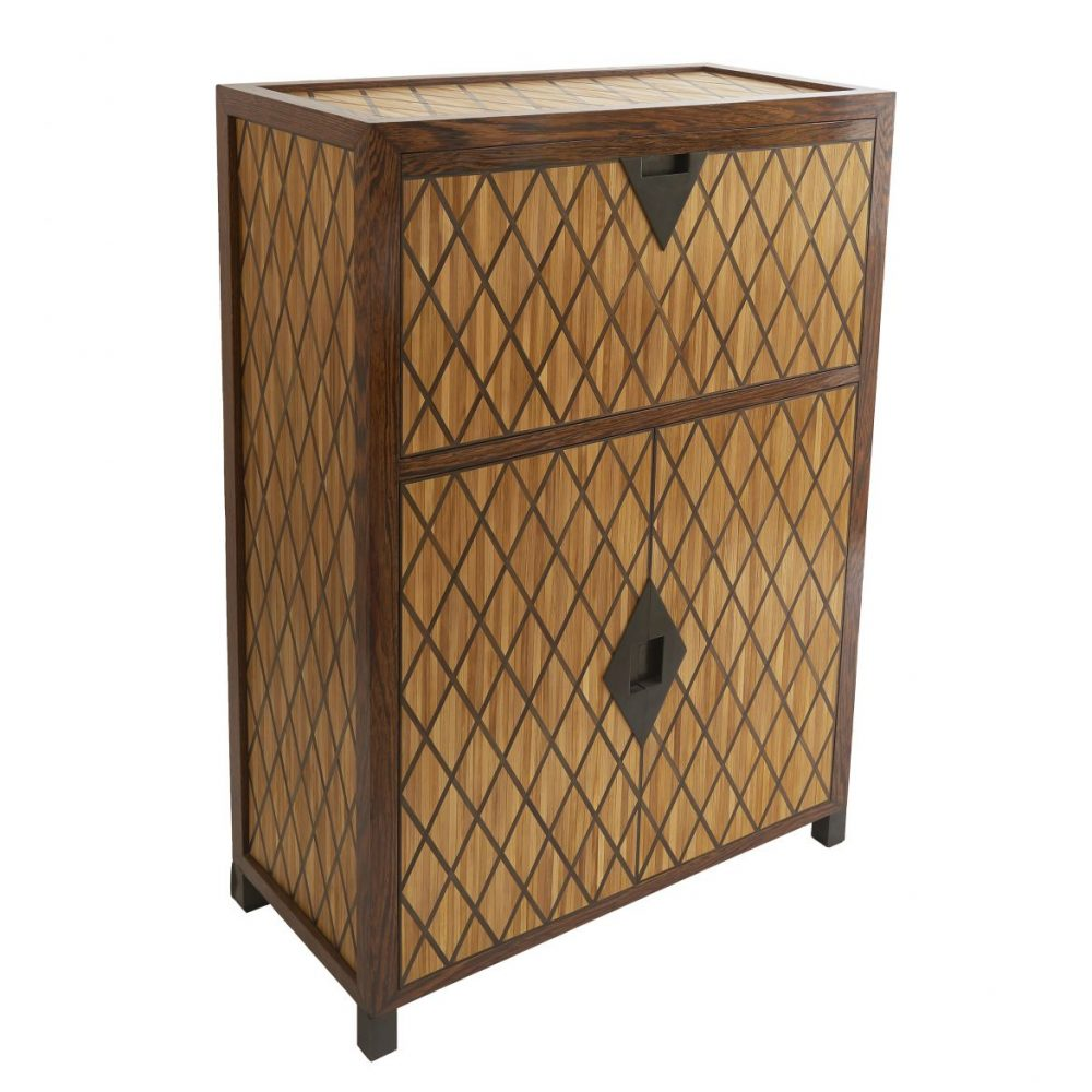 Straw Marquetry Bar Cabinet By Alexander Lamont