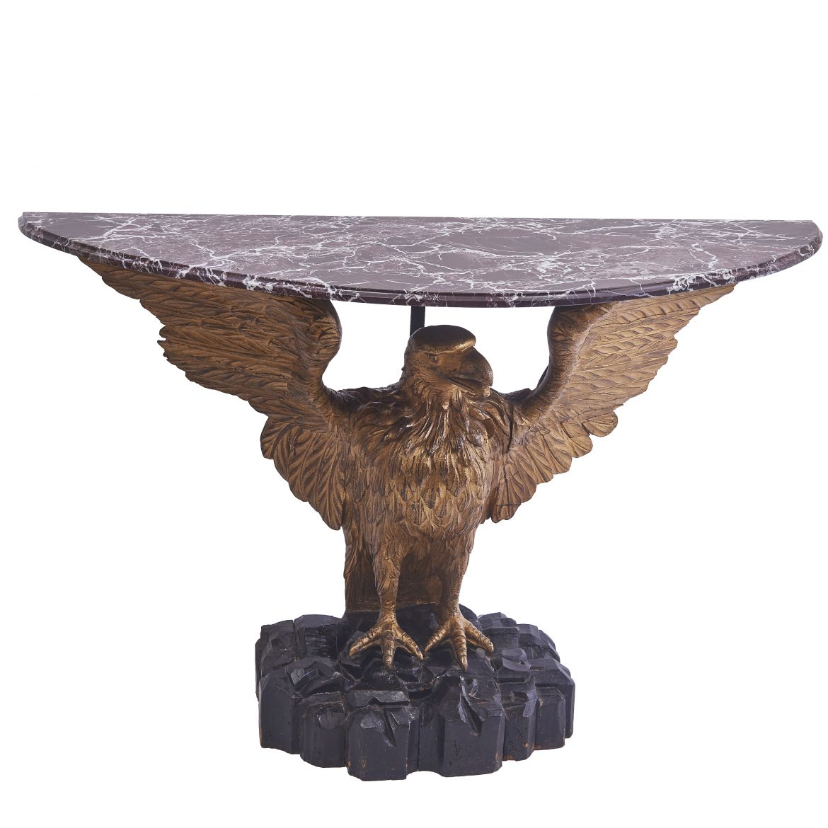Georgian Demi Lune Eagle Console With Marble Top