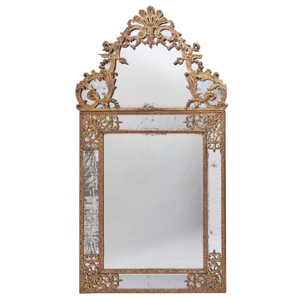 Large Regence Carved Giltwood Mirror A Parecloses