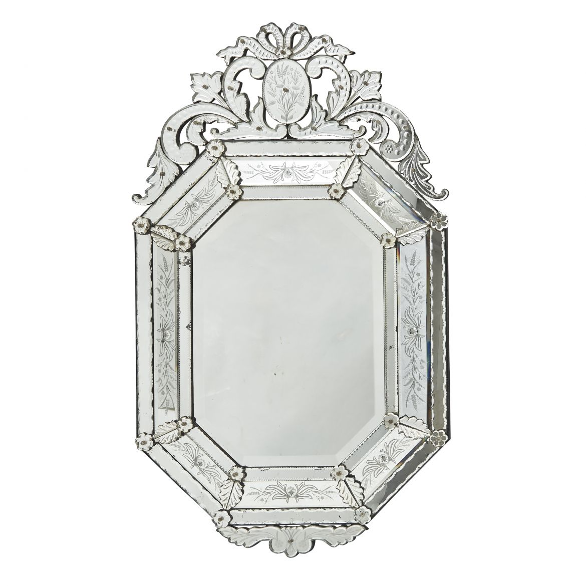 French Venetian Style Floral Engraved Cushion Mirror