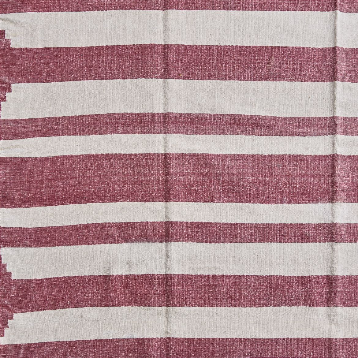 Uneven Red And White Striped Dhurrie