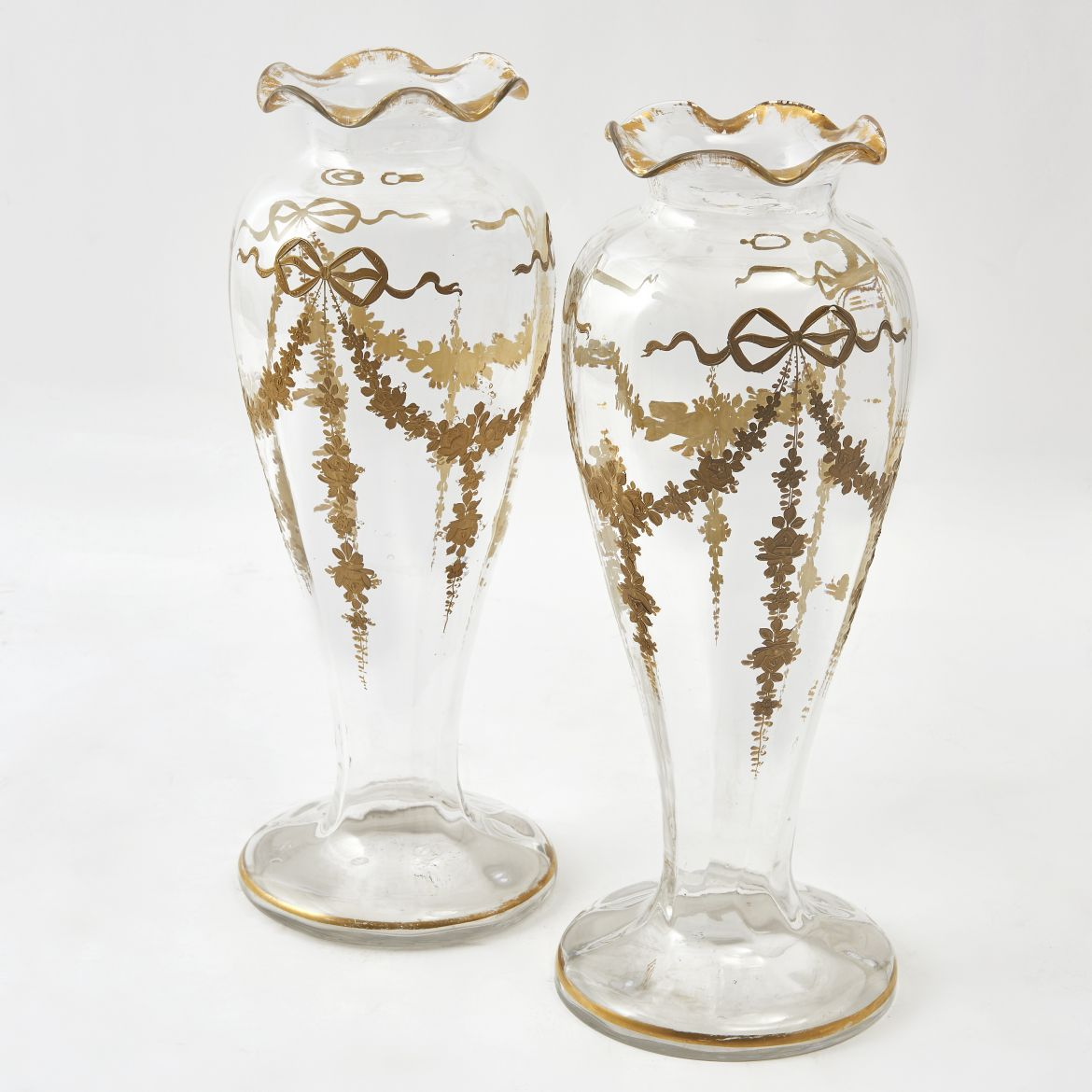 French Belle Epoque Glass and Gilt Vases