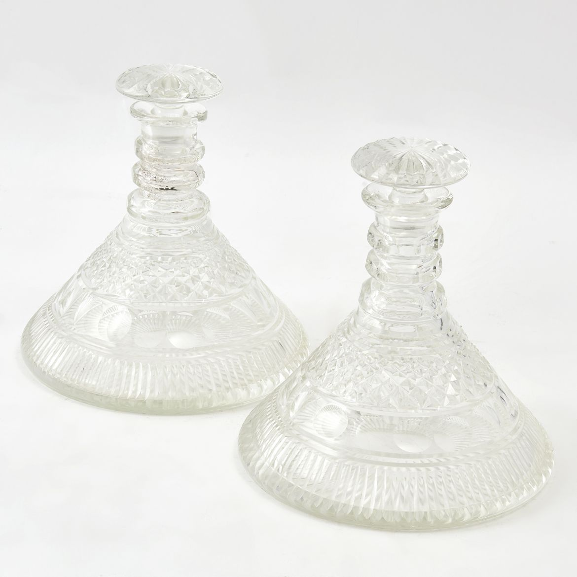 Pair English Cut Glass Ships Decanters