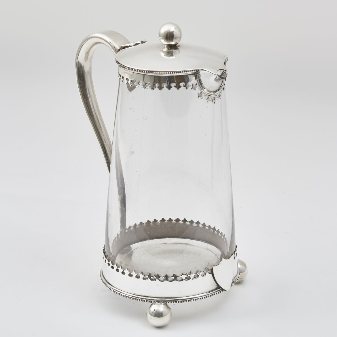 French Glass Water Jug With Silver Plate Mounts