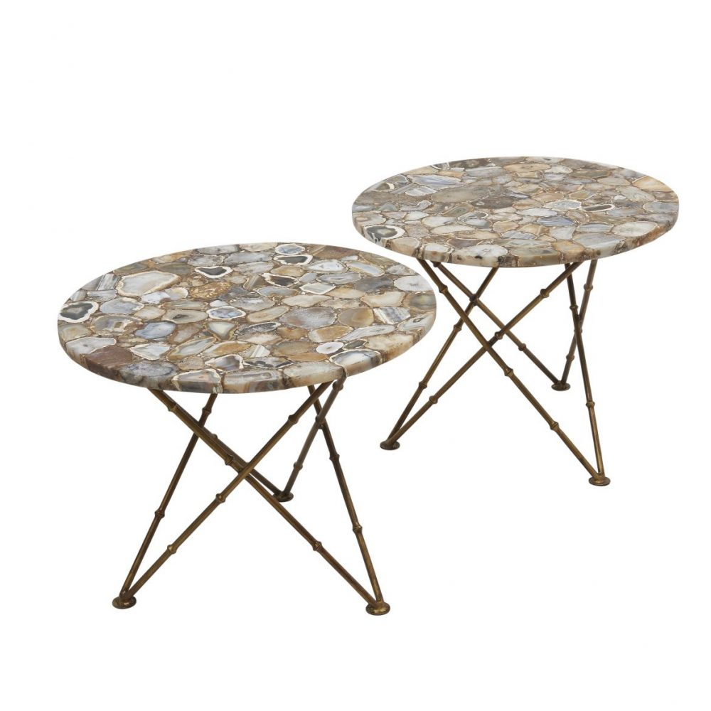 Pair Contemporary Agate Tables