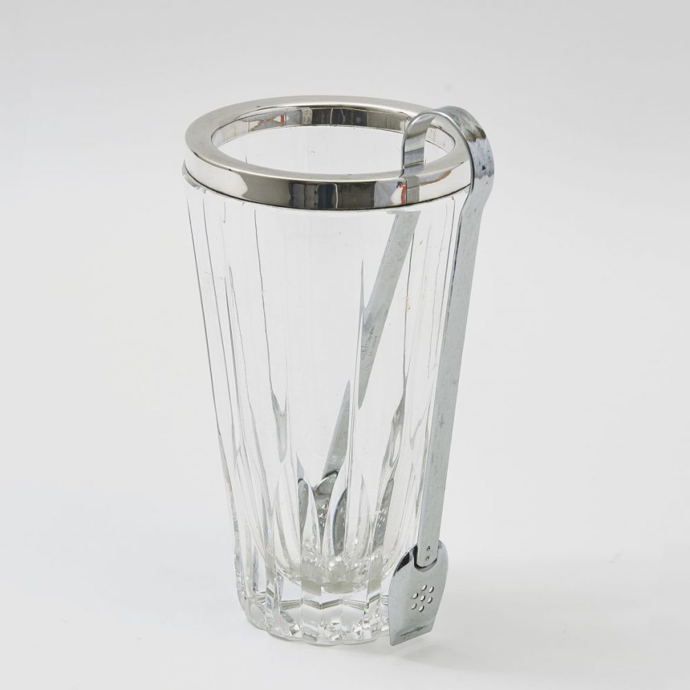 Silver Mounted Glass Ice Bucket With Tongs