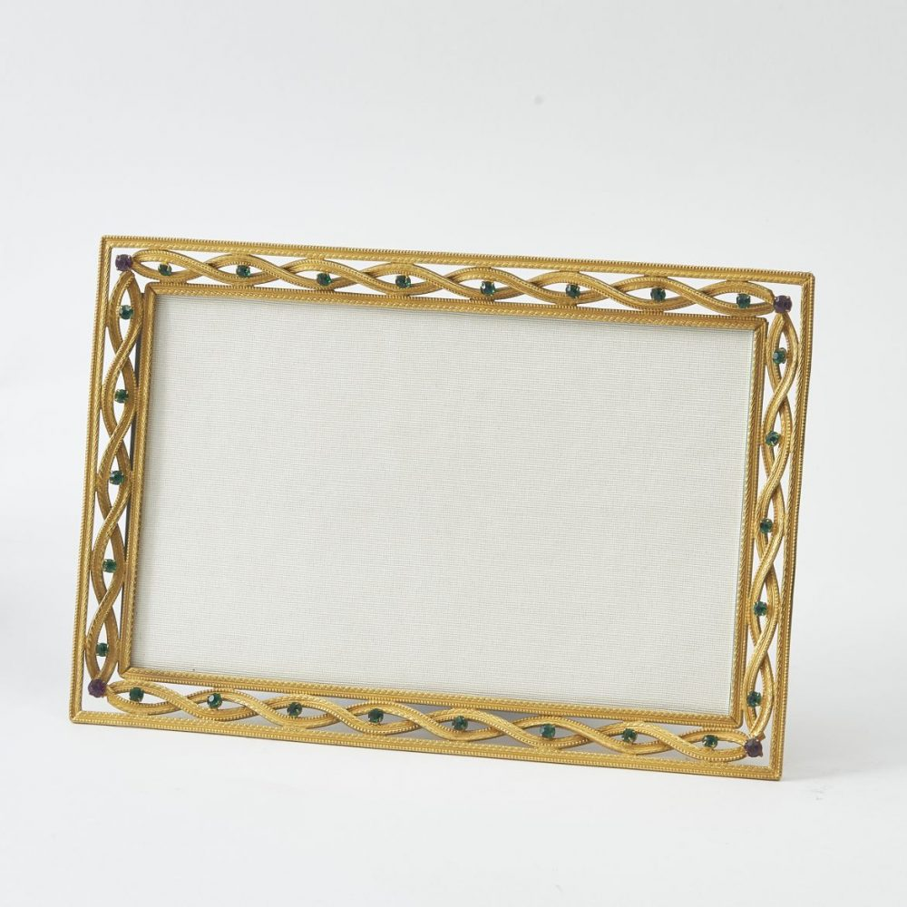 French Gilt Bronze Frame With Green And Purple Paste Stones