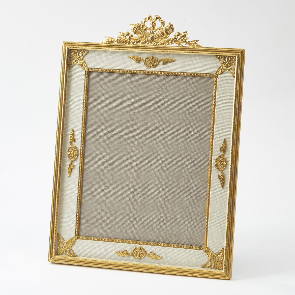 French Gilt Bronze Frame With Ribbon And Torch Crest