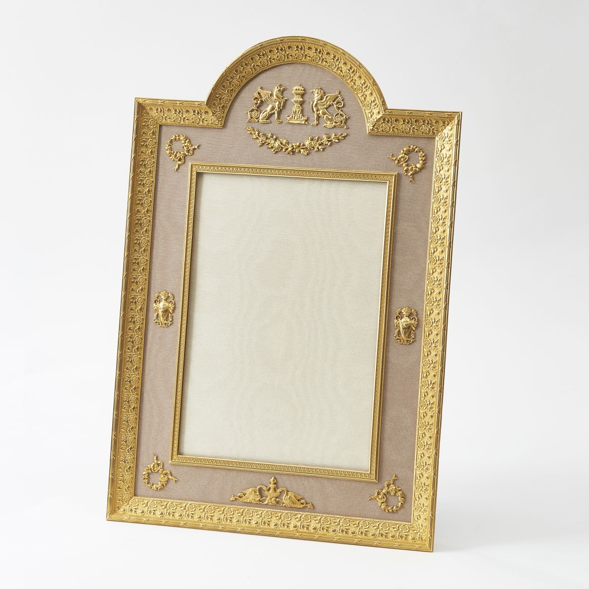 Arch Top Gilt Bronze Frame With Applied Classical Motifs