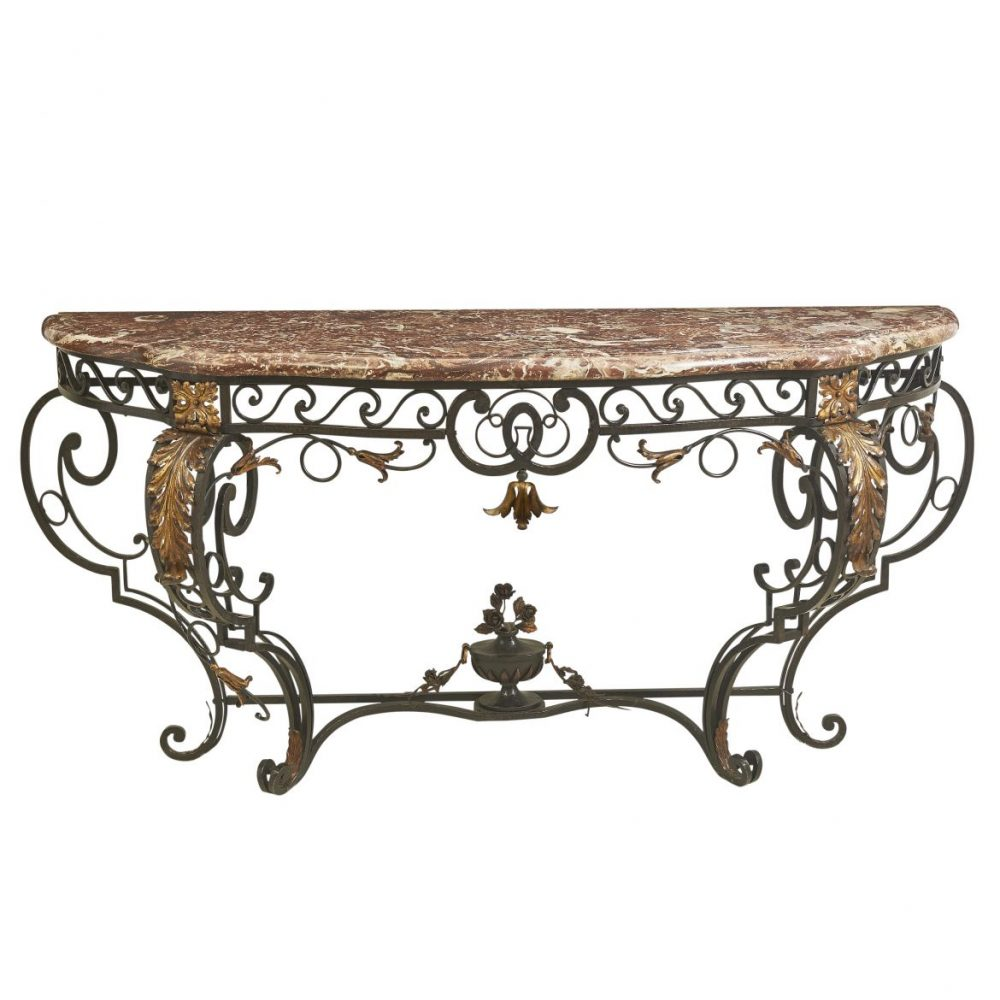 Napoleon III Wrought Iron Console Table With Rouge De Rance Marble Top
