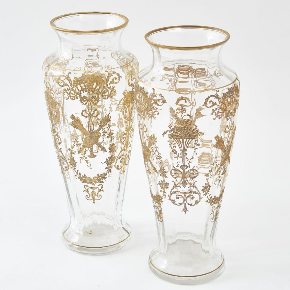St Louis Gilt Decorated Ribbed Glass Vases