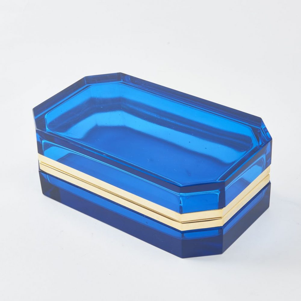 Large Murano Blue Glass Box With Canted Corners