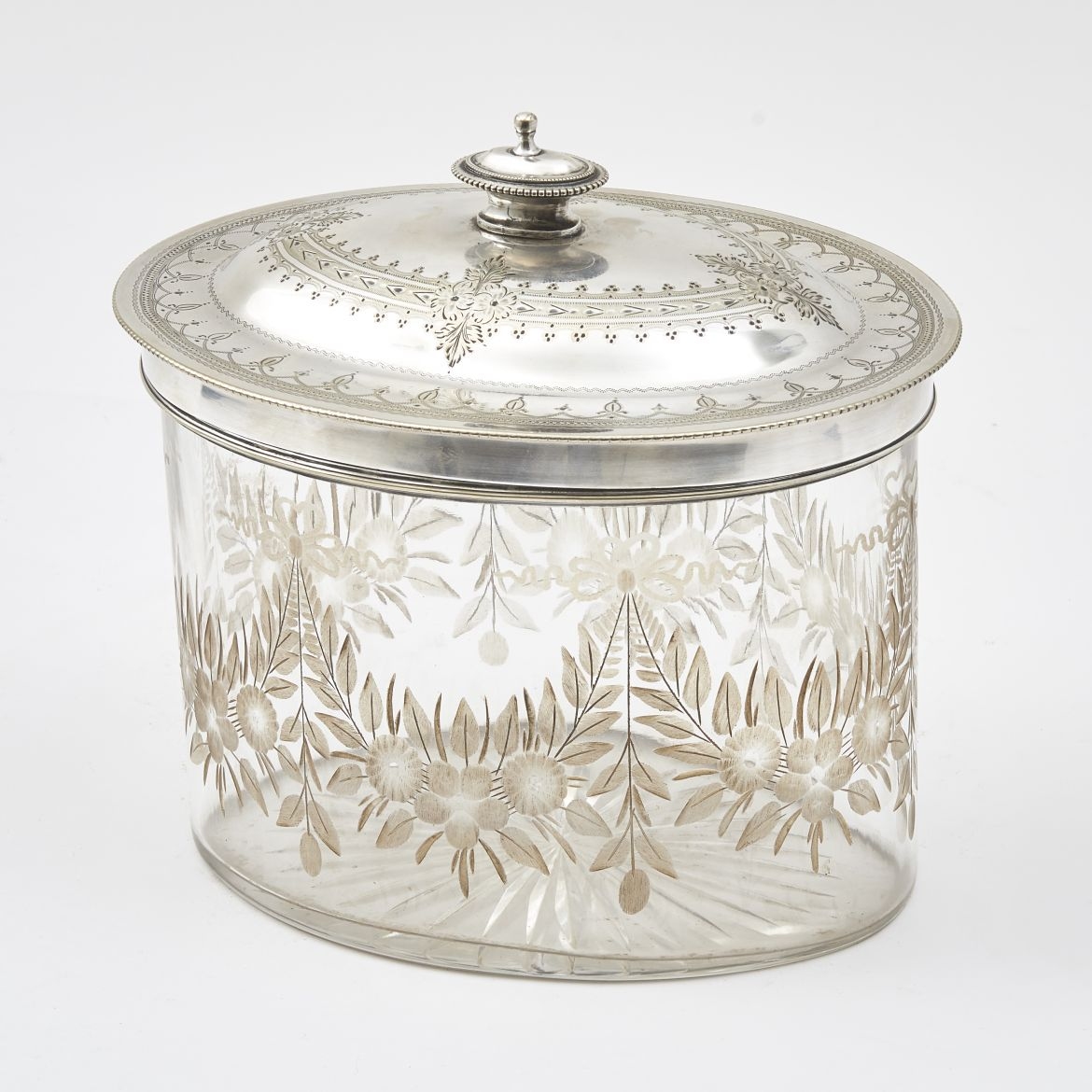 Victorian Glass Biscuit Box With Silver Plate Cover