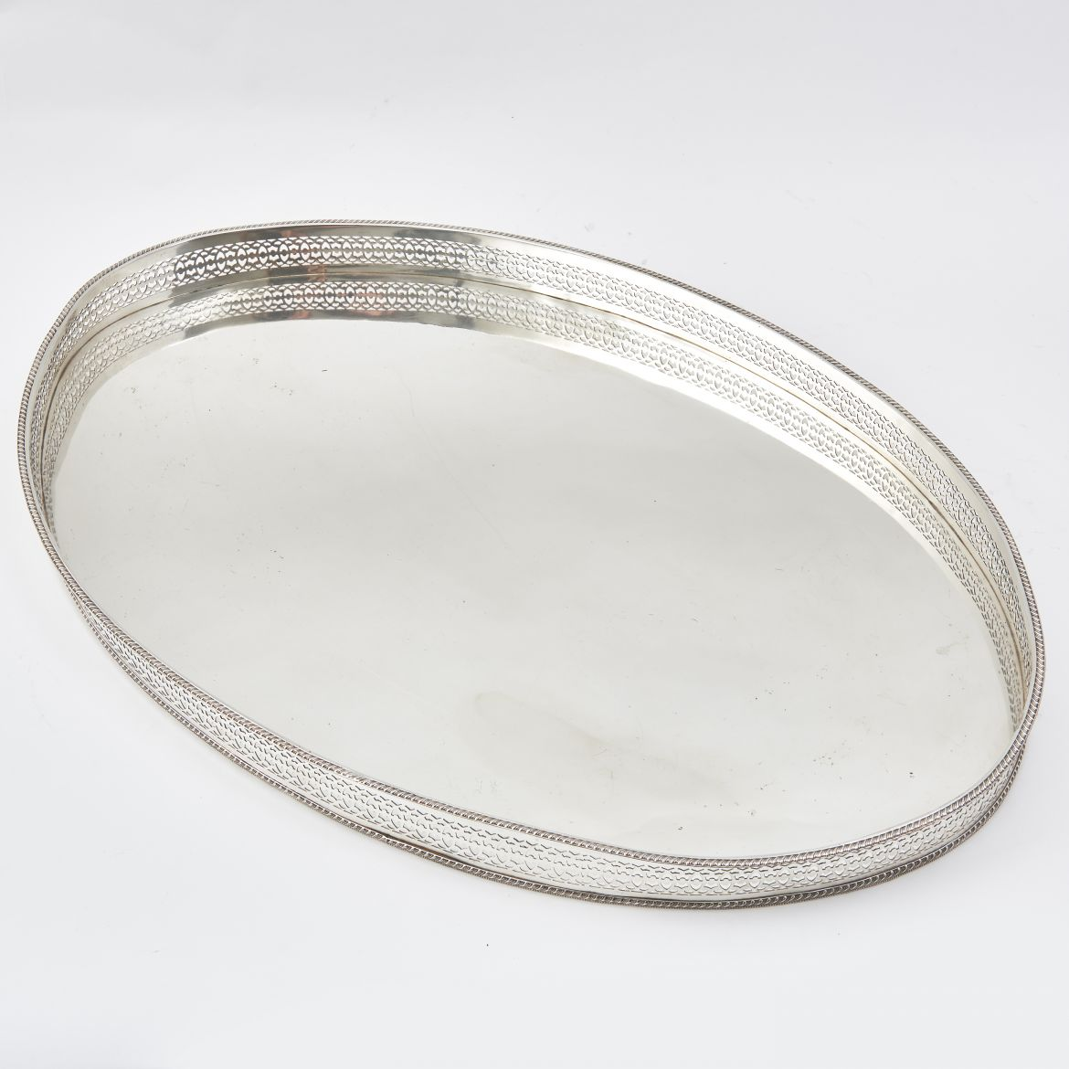 Vintage Oval Silver Plate Tray With Pierced  Gallery