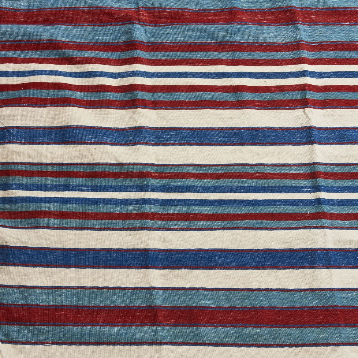 Uneven Striped Red Blue And Indigo Dhurrie