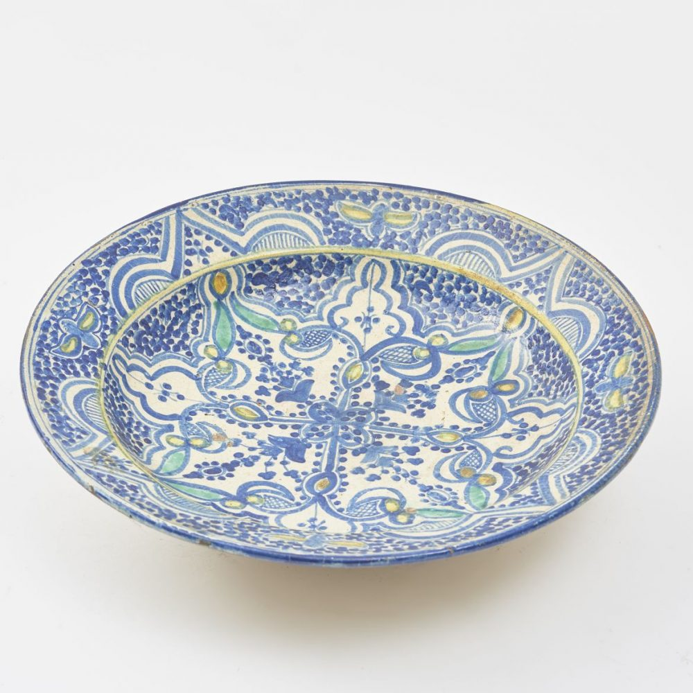 Moroccan Plate With Blue Green And Yellow Decoration