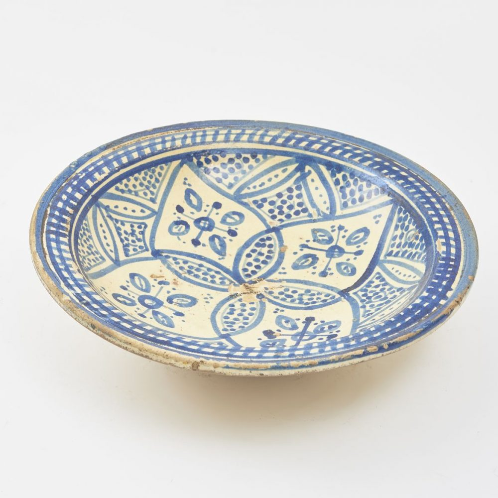 Moroccan Blue And White Glazed Plate
