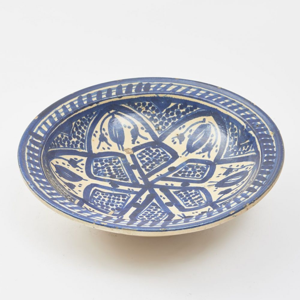 Moroccan Charger With Cobalt Blue Decoration