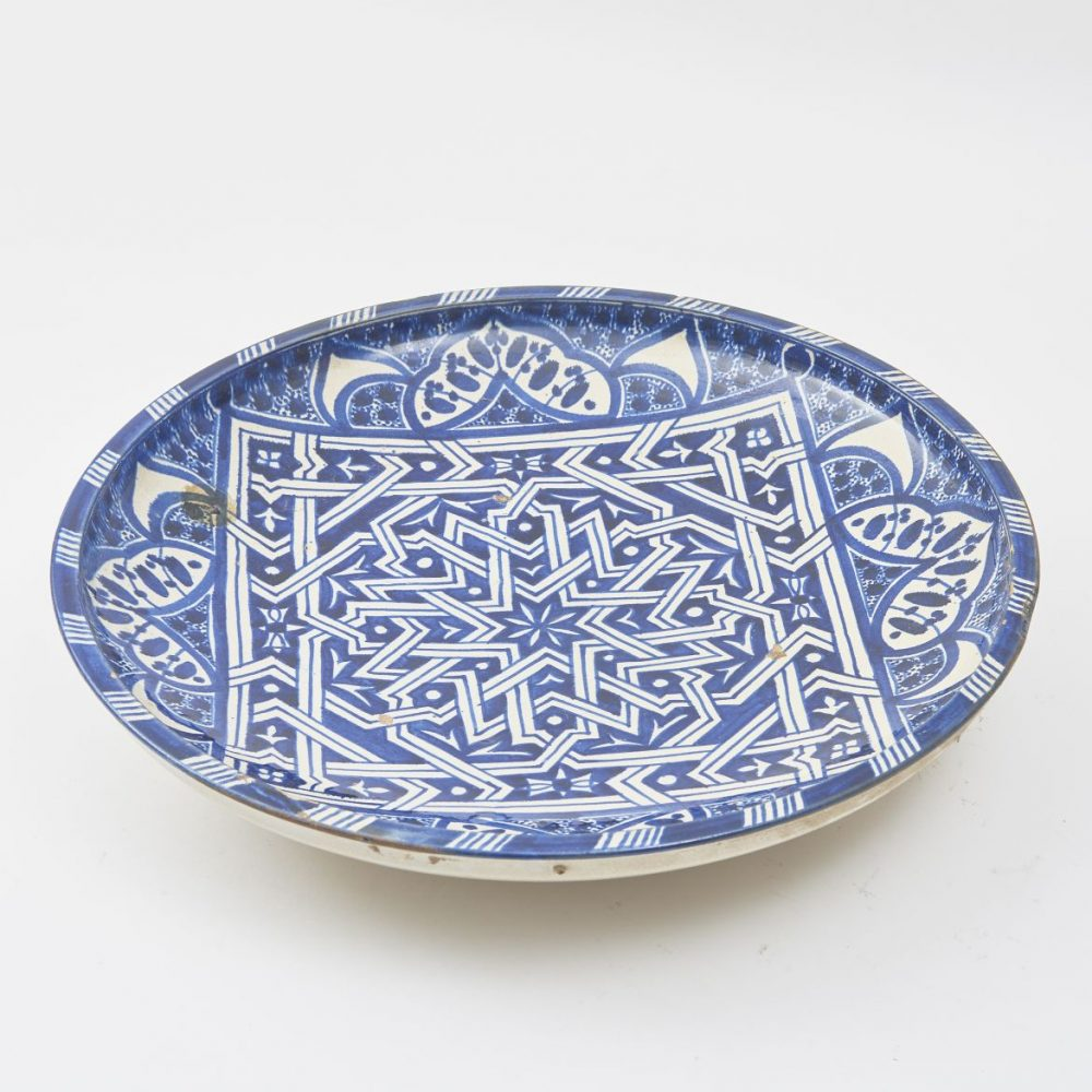 Large Blue And White Moroccan Plate