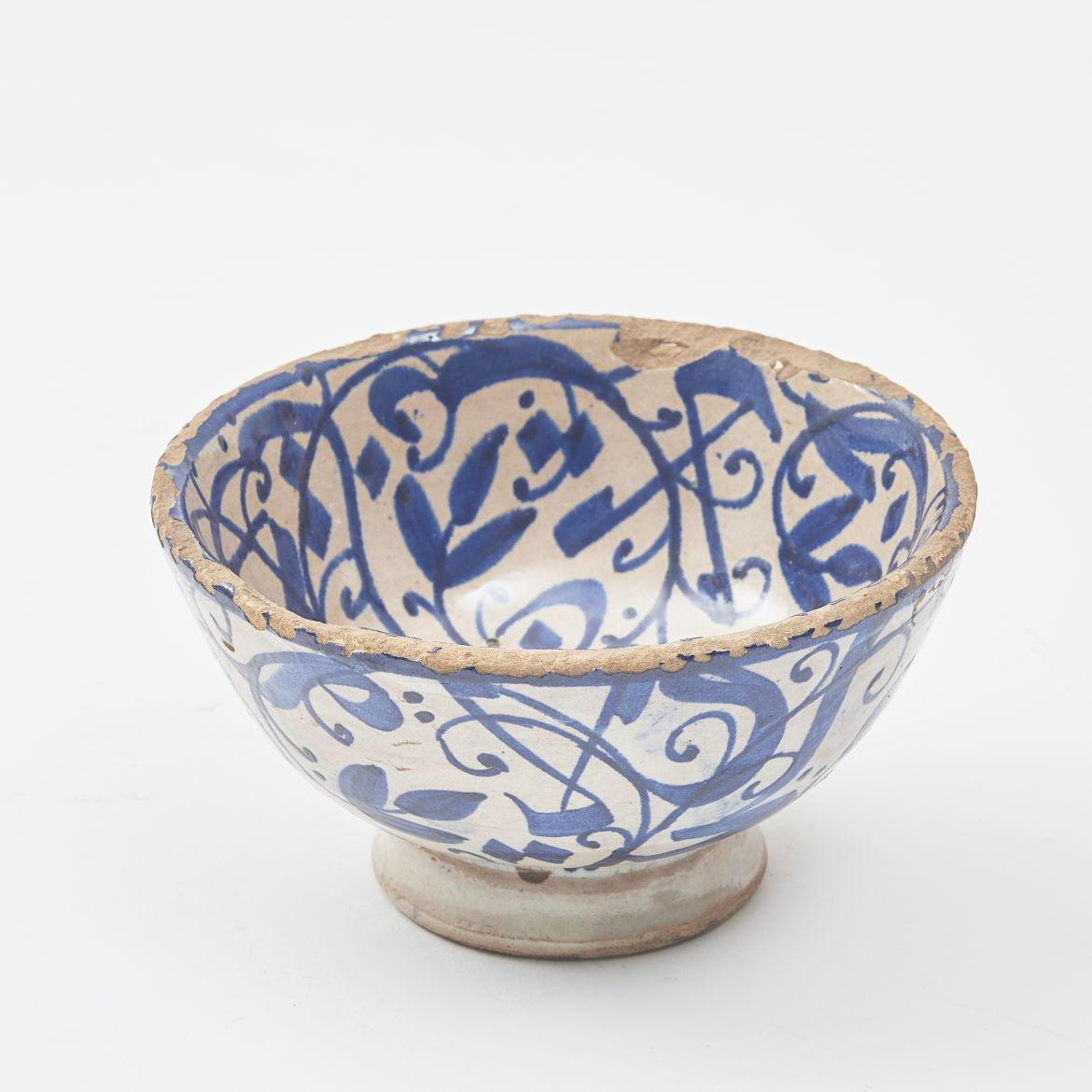 Small Moroccan Blue And White Bowl
