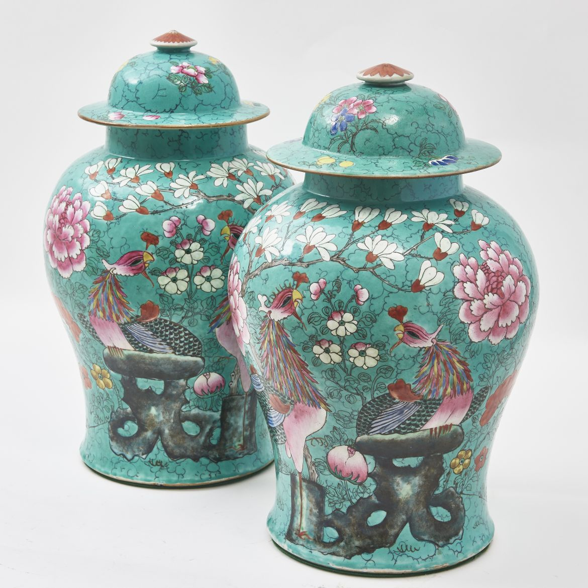 Chinese Porcelain Temple Jars Decorated With Birds Of Paradise
