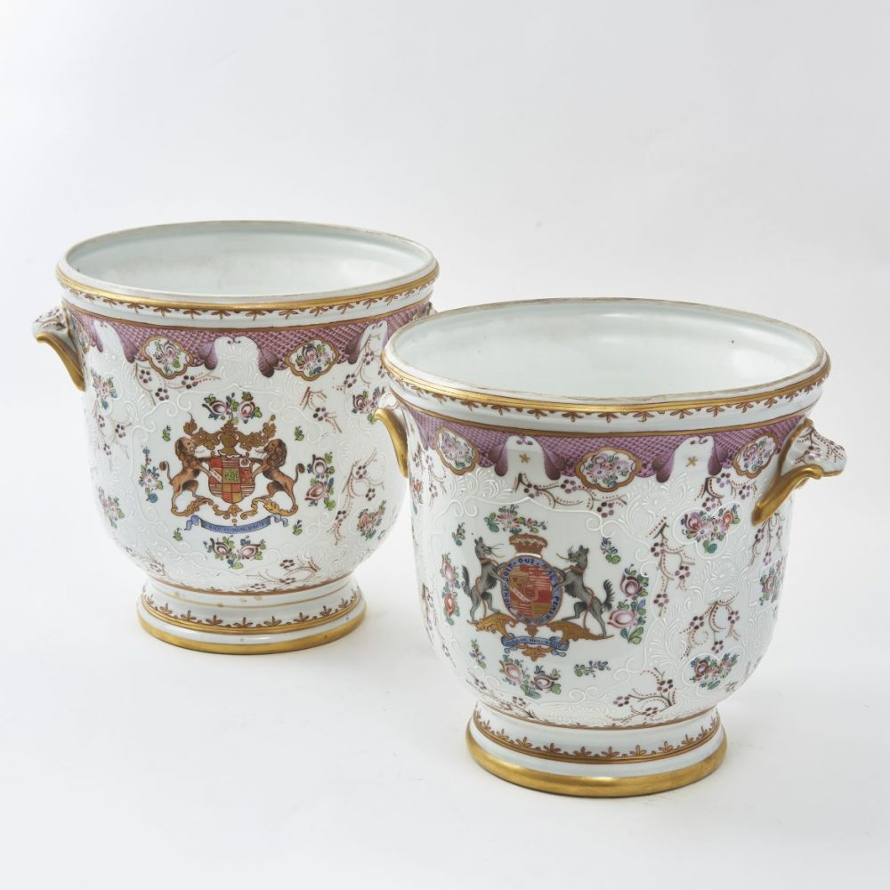 French Armorial Porcelain Jardinieres In the Chinese Style