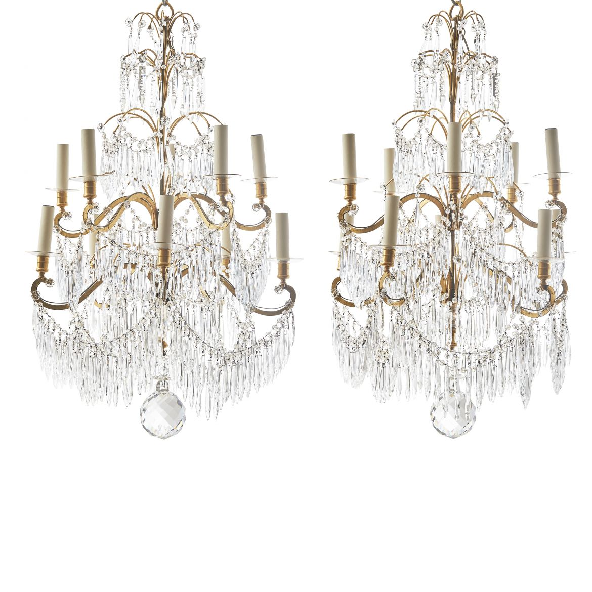 Pair French Gilt Bronze And Crystal Drop Neoclassical Chandeliers