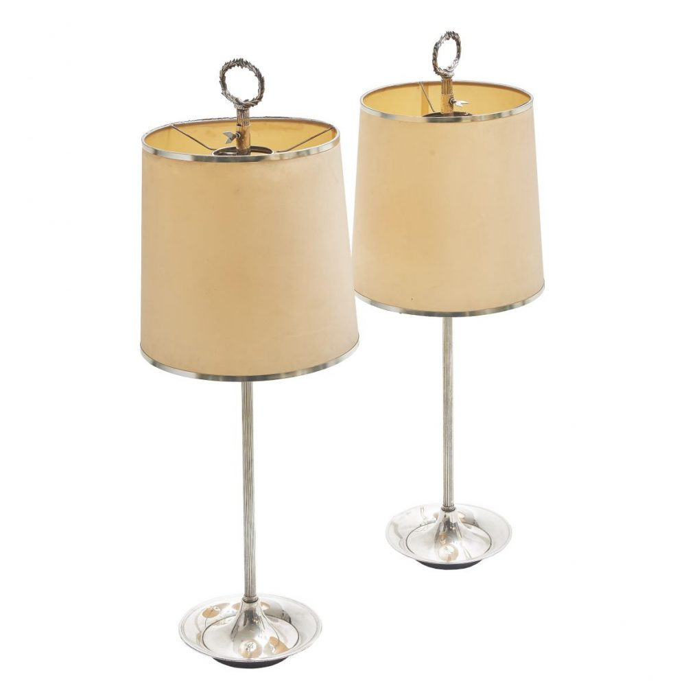 Jansen Style French Silver Plate Reeded Lamps