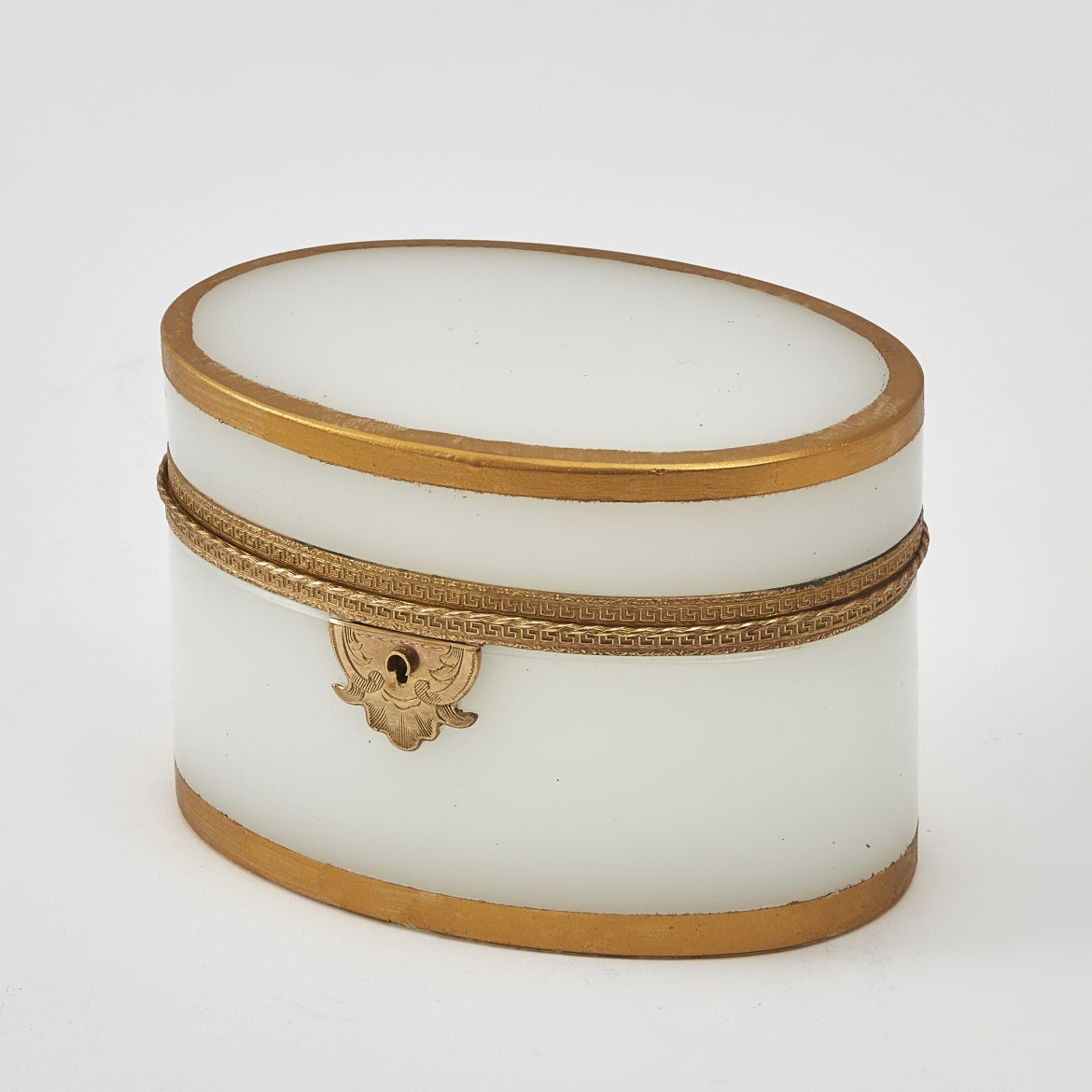French Oval Opaque Glass Box With Bronze Mounts