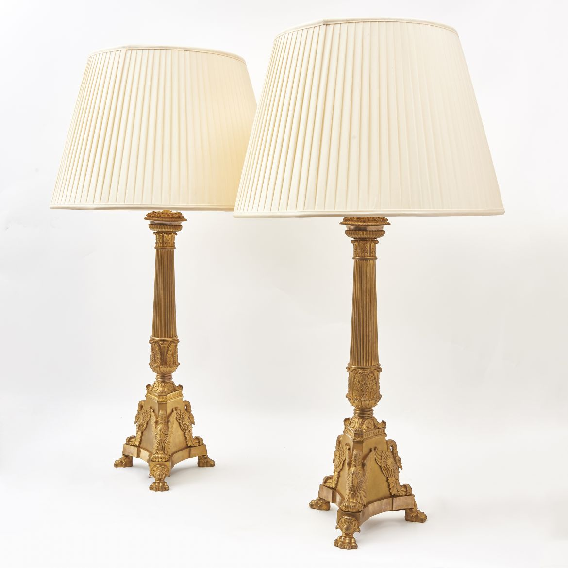 French Louis Philippe Gilt Bronze Column Lamps With Triform Bases