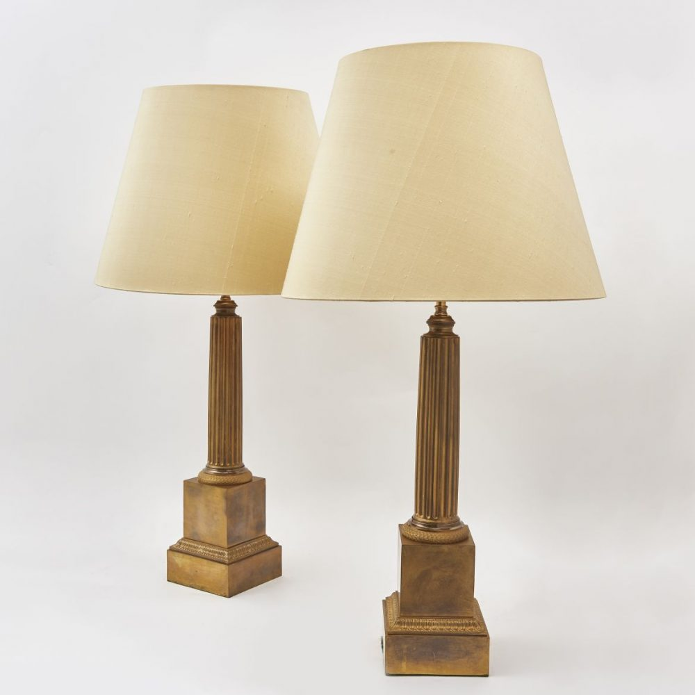 Pair French Charles X Bronze Column Lamps
