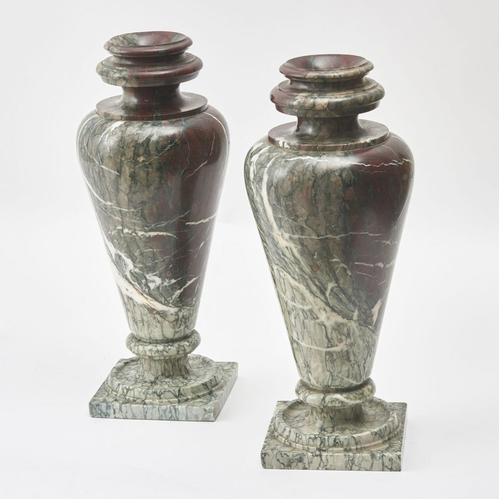 Pair French Turned Campan Rubané Marble Vases