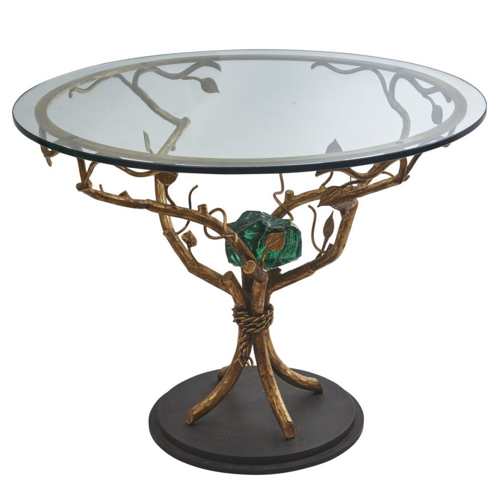 acques Brasseur Bronze Faux Bois Table With Green Crystal