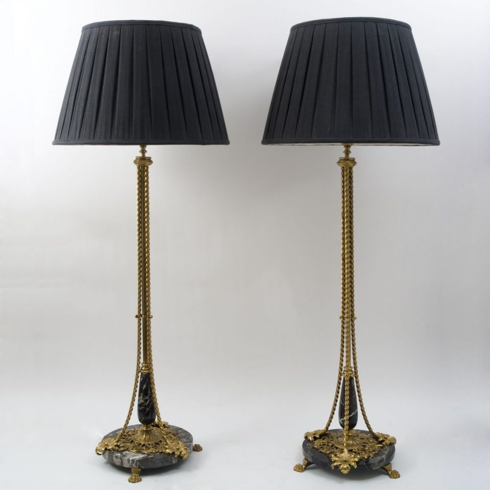 Large Bronze, Steel and Portor Marble Lamps By Oscar Bach