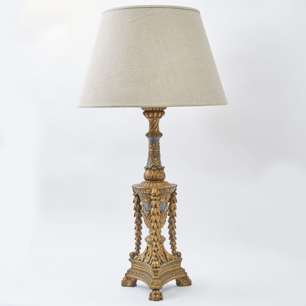 Italian Carved Giltwood And Painted Triform Lamp