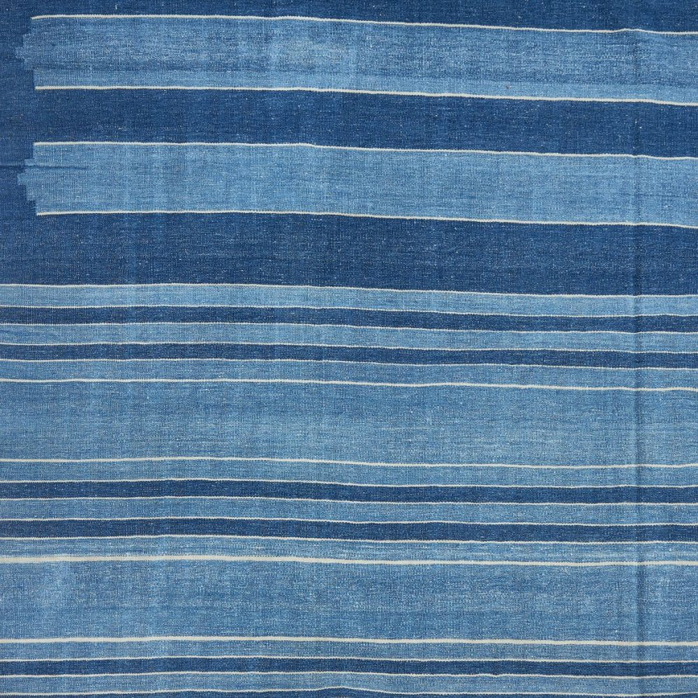 Varied blue and white stripe dhurrie