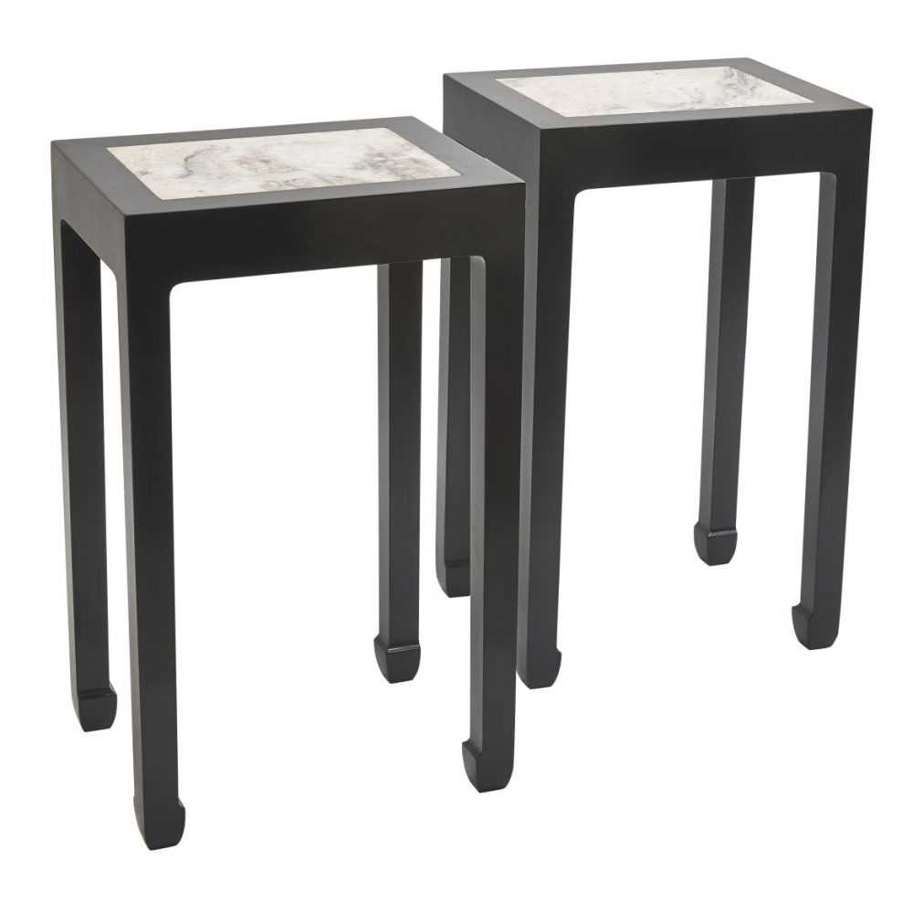Chinese Tea Tables With Inset Marble Tops