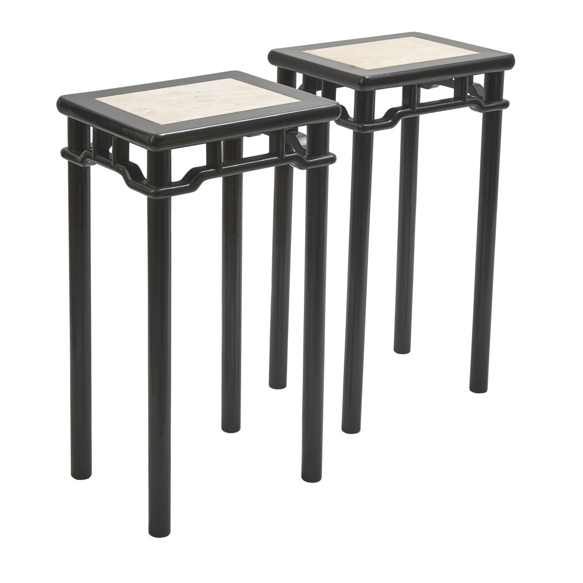 Pair Chinese Lacquer Tables With Marble Tops