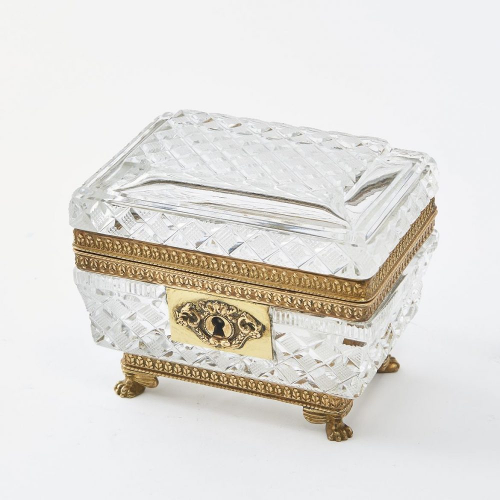 Louis Philippe Cut Glass Box With paw Feet
