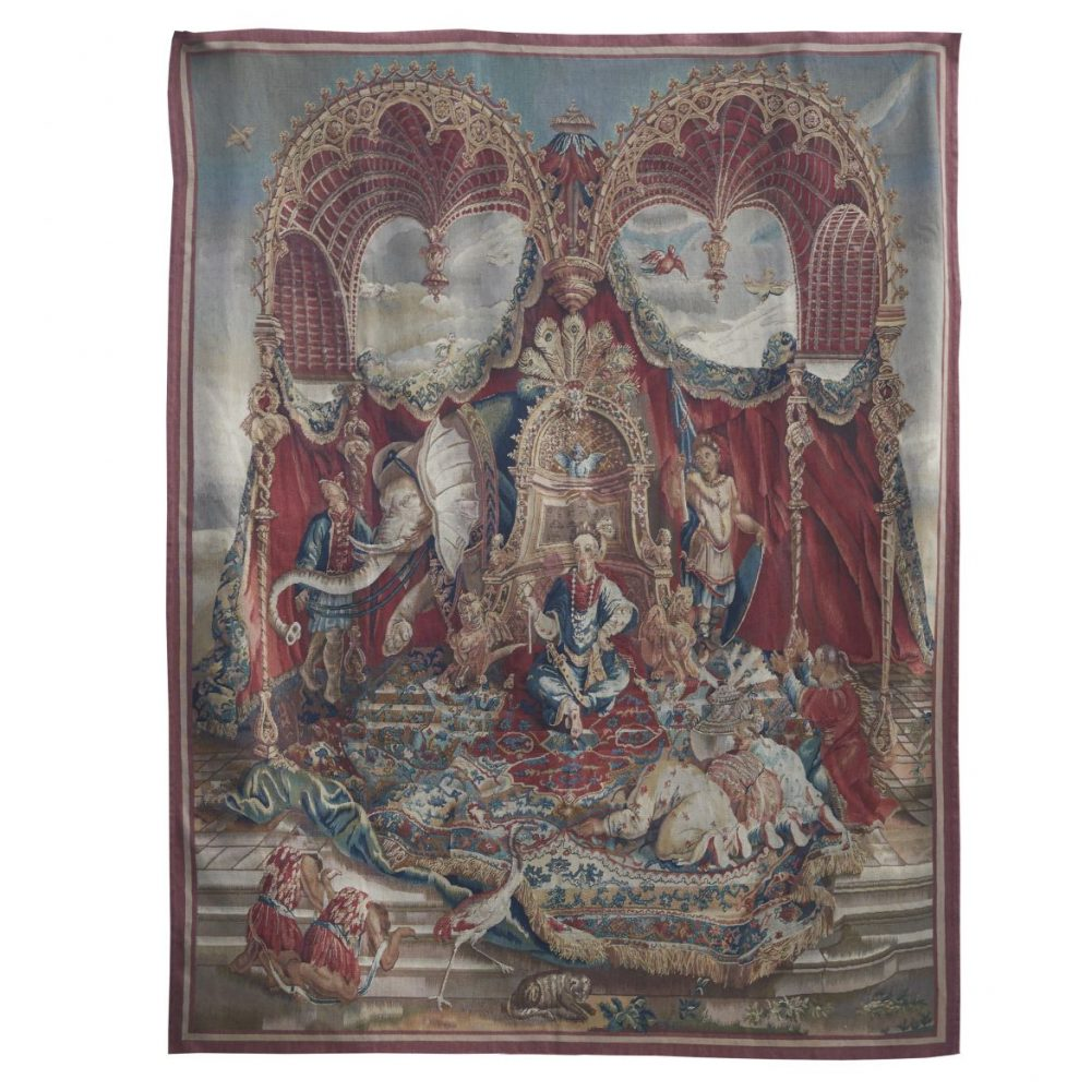 French Aubusson Copy Of Beauvais Taspestry Titled The Audience Of The Emperor
