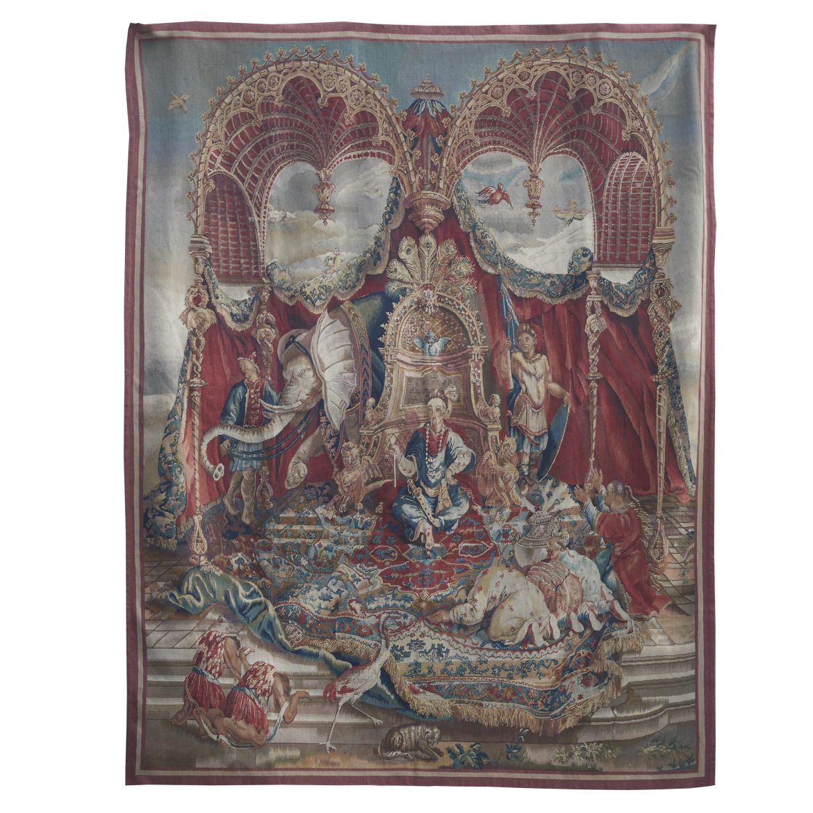French Aubusson Copy Of Beauvais Tapestry Titled The Audience Of The Emperor