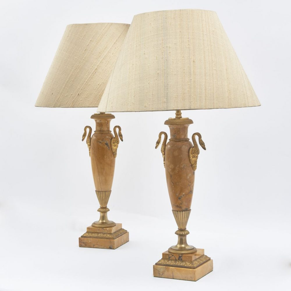 Louis Philippe Ormolu And Sienna Marble Lamps With Swan Handles