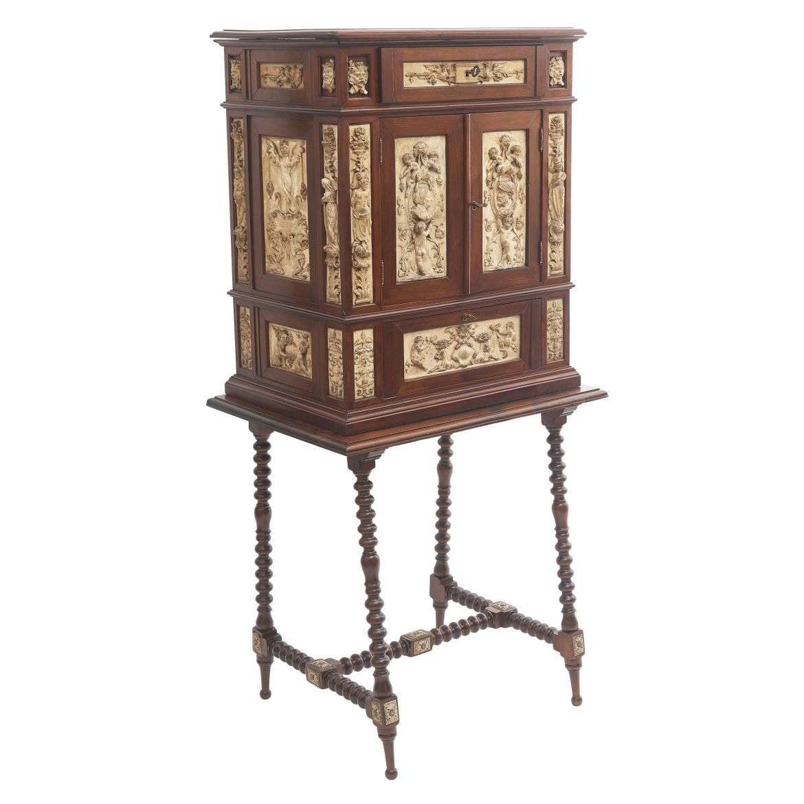 Spanish Collector's Cabinet On Stand With Carved Stucco Panels