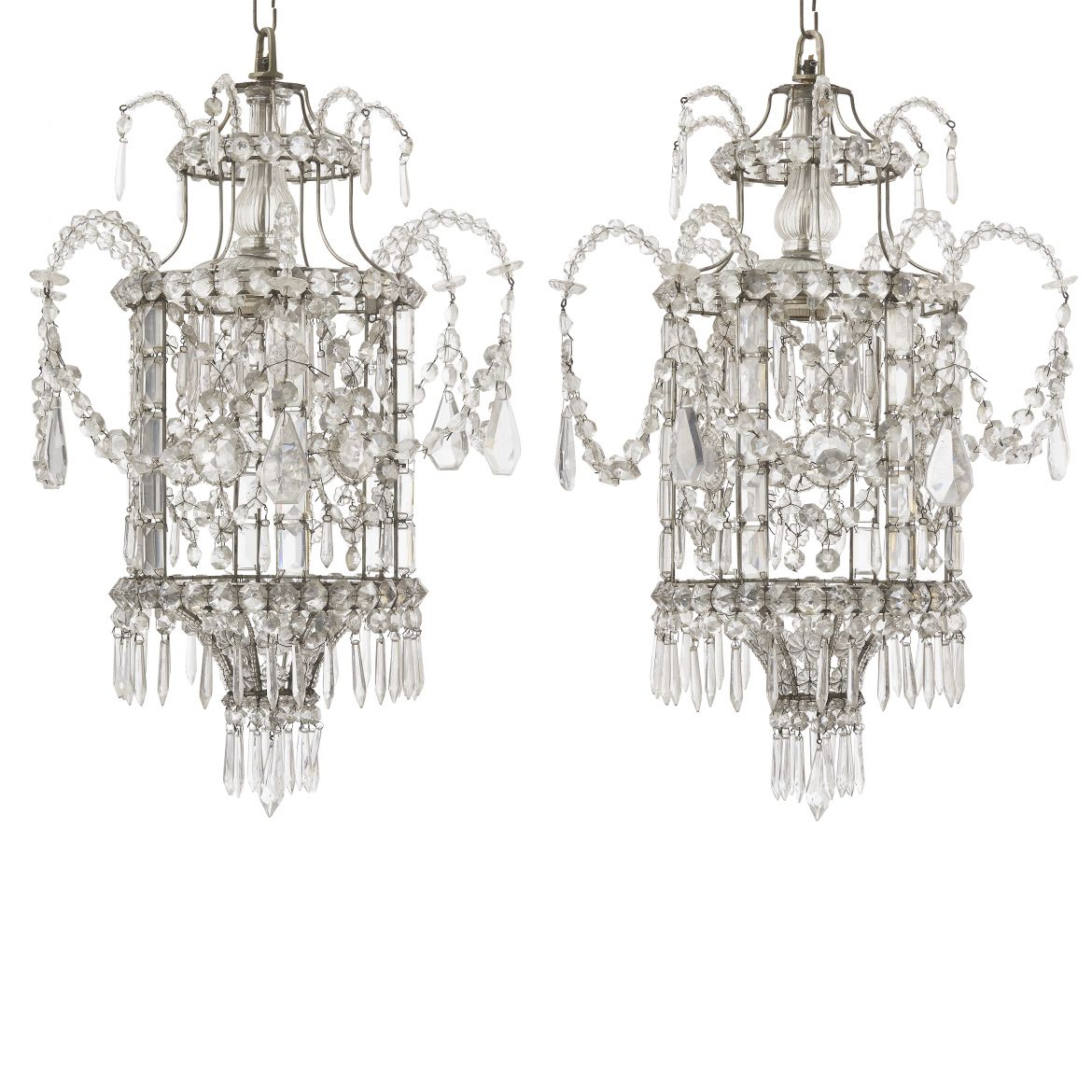 Pair French Crystal Drop Chandeliers