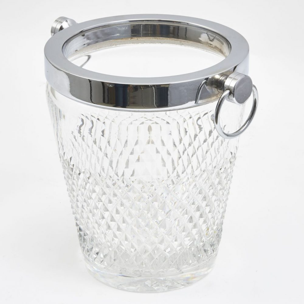 English Chrome And Glass Champagne Bucket